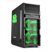 Carcasa VG5-W GREEN, MiddleTower, Fara Sursa, Green LED, Negru