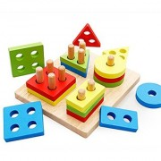 Joyeee Creative Wooden Color and Shape Geometric Sorting Board - Stack & Sort Puzzle Toys - Perfect Christmas Gift Idea