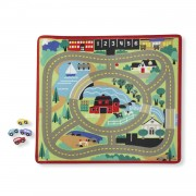 Melissa & Doug Round the Town Road Rug & Car Set - Green