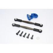Tamiya Wild Willy 2 Upgrade Parts Spring Steel Anti-Thread Steering Tie Rod & Servo Horn - 3Pcs Set Blue