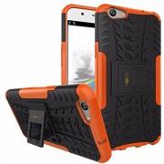 Heartly Tough Hybrid Flip Kick Stand Spider Hard Dual Shock Proof Rugged Armor Bumper Back Case Cover For Oppo F1s Selfie Expert - Mobile Orange