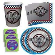 Race Car Racing Birthday Party Supplies Set Plates Napkins Cups Kit for 16 Plus Stickers