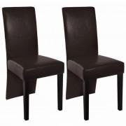 vidaXL Комплект кожени столове за хранене, 2 броя