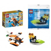 Lego Sea Adventures 2 Set Bundle Creator 3 In 1 Sea Plane 31028 & City Jet Ski W/ Minifigures 30015