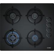 Plita pe gaz incorporabila Bosch POH6B6B10, latime 59 cm, 4 arzatoare, aprindere electrica integrata, sistem de siguranta a flacarii, gratare emailate, arzator wok, negru