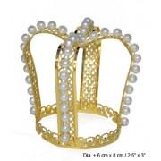 Coronita printesa metalica cu perle - Cod 53757