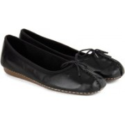 Clarks Freckle Ice Black Leather Bellies(Blue)