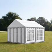 Profizelt24 Partyzelt 3x3m PVC grau-weiß Gartenzelt, Festzelt, Pavillon
