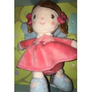 Doudou Petite Fille Robe Rose Col Blanc Fillette Tex Baby Etoiles Peluche Naissance Poupee Poopon Couettes Noeuds Roses Soft Toy Doll Pink Girl Dress Cadeau Deco