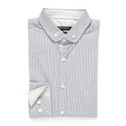 【76%OFF】配色 ボタンダウン ショートカラー 長袖シャツ グレー m ファッション > メンズウエア~~スーツ