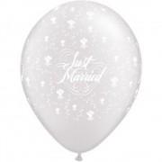 "Baloane latex 11"" inscriptionate Just Married Hearts-A-Round Diamond Clear, Qualatex 39208"