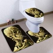 rosegal Flannel Bathroom 3PCS Skull Print Toilet Mats Set