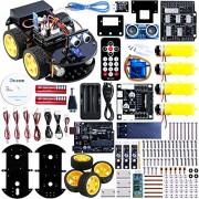 Elegoo UNO R3 Proyecto Actualizado Smart Robot Car Kit V 2.0 Proyecto Arduino, con UNO R3, Line Tracking Module, Sensor Ultrasónico, Módulo de Bluetooth, El último Inteligente y Educativo Coche de Juguete Para Niños Niñas Boys
