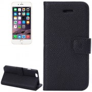 Litchi Texture Leather Case with Card Slots and Holder for iPhone 6 Plus & 6S Plus(Black)