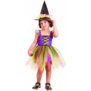 Disfarce de bruxa colorida menina 1 - 2 anos