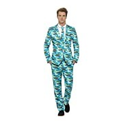 Smiffy's Men's Aloha! Suit, Jacket, Pants and Tie, Stand Out Suits, Size:XL, Colour:Multi, 40083