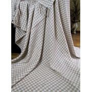 Manta de 20% lana con franja , 140 X 200cm, modelo Torino, color: beige-blanco