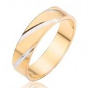 Arany színű gyűrű ezüst színű átlós bevágásokkal