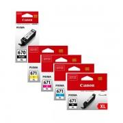 5 Pack Genuine Canon PGI-670XL, CLI-671XL High Yield Ink Combo [1BK,1PBK,1C,1M,1Y]