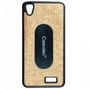 Casotec Metal Back TPU Back Case Cover for Intex Aqua Q3 - Gold
