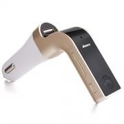 MOKE Nuevo kit de coche reproductor de MP3 sin hilos del LCD FM del modulador del transmisor del cargador del coche de Bluetooth (Oro)