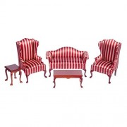 Town Square Miniatures Mahogany Queen Anne Living Room Set - Stripes