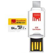 Strontium 64 GB Nitro 566X microSDXC UHS-1 Memory Card (Class10) With OTG Card Reader