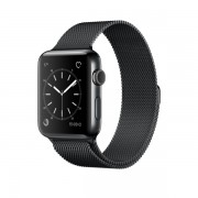 Apple Watch Series 2 con caja de acero inoxidable negro espacial de 42 mm y correa estilo milanés en negro espacial