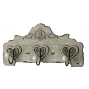 Wandgarderobe mit 3 Haken in antik-hellgrau 44,5x10,5 cm