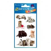 3 vellen met kitten stickers