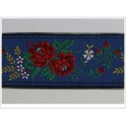 Krojová stuha vyšívaná žakarová šírka 5,5 cm modrá