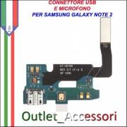 Flat Connettore Usb Ricarica Microfono per Samsung Galaxy Note 2 Note2 N7100 Ricambio Originale