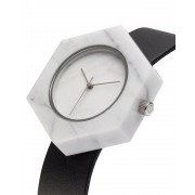 Analog Watch Mason Hexagon White Marble Body & Black Strap Watch SB-WX
