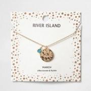 River Island Womens Blue gem March birthstone necklace
