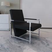 vidaXL Čierne kvalitné štvorcové relaxačné kreslo s chrómovými nožičkami