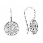 Pave Set Diamond Circle Earrings 14K White Gold (0.65ct)