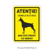Placheta Atentie Caine Nervos!