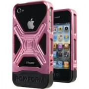 RokForm Fuzion Aluminum Apple iPhone 4 /4S Case (Etched Pink)