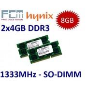 FCM/HYNIX (Mihatsch & Diewald) 8 GB Dual Channel Kit 2 x 4 GB 204 pin DDR3 - 1333 (1333MHz, PC3 - 10600, CL9) - per Apple MacBook Pro 8,1 8,2 8,3 + iMac 11,2 11,3 12,1 12,2 + Mac Mini 5,1 5,2 5,3 e tutti gli attuali Core i3/i5/i7 pc portatili