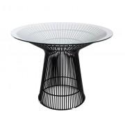 Replica Warren Platner - Wire Dining Table - Glass Top - Black Powdercoated - 100cm