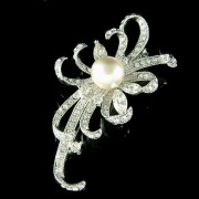 Elegant Bridal Jewelry Swarovski Crystal and Pearl Floral Brooch