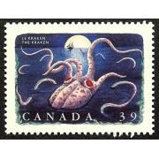The Kraken Giant Octopus -Handmade Framed Postage Stamp Art 14846