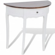 White Half-round Console Table with Drawer Brown Top