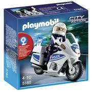 Playmobil - 5185 - Jeu de Construction - Motard de Police avec Lumière Clignotante