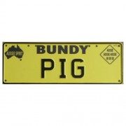 """Novelty Number Plate - Bundy Pig Black On Yellow New Series"""