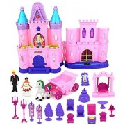 My Dream Castle Toy Doll Playset w/ Lights Sounds Prince and Princess Figures Horse Carriage Castle Play House Furniture Accessories (Styles May Vary)