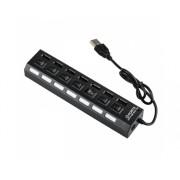 Hub USB 2.0 grande vitesse 7 Ports USB avec bouton On/Off / 5V / 480mbps / Compatible Windows / Noir