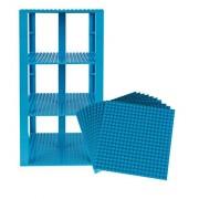 "Premium Robins Egg Blue Stackable Base Plates 10 Pack 6"" X 6"" Baseplate Bundle With 80 Robins Egg Blue Bonus Building Bricks (Lego Compatible) Tower Construction"
