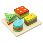 Arshiner Wooden Geometric Sorting Board Educational Shape Color Recognition Stack and Sort Board