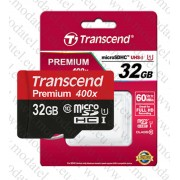 Micro SDHC card + Adapter (32GB class 10) Transcend Premium 400x